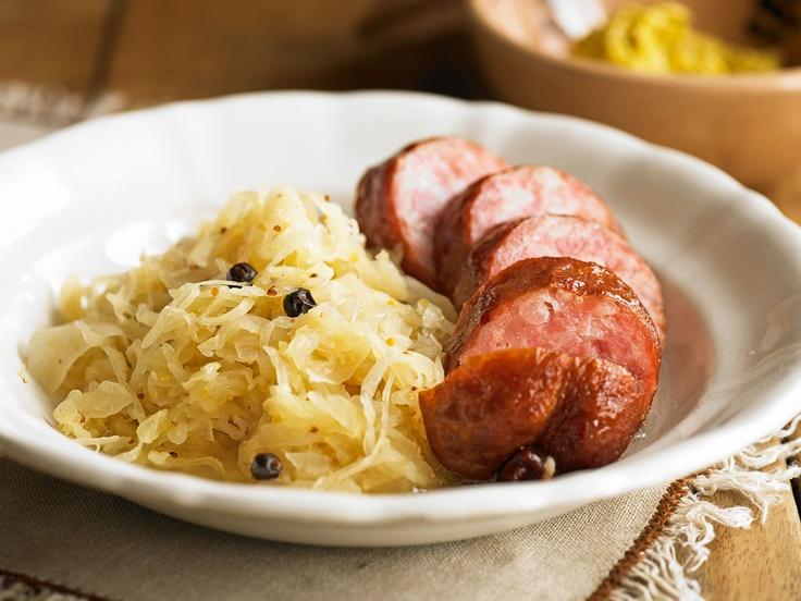 Saucisson mit Honig-Senf-Sauerkraut - Rezept - Saisonküche