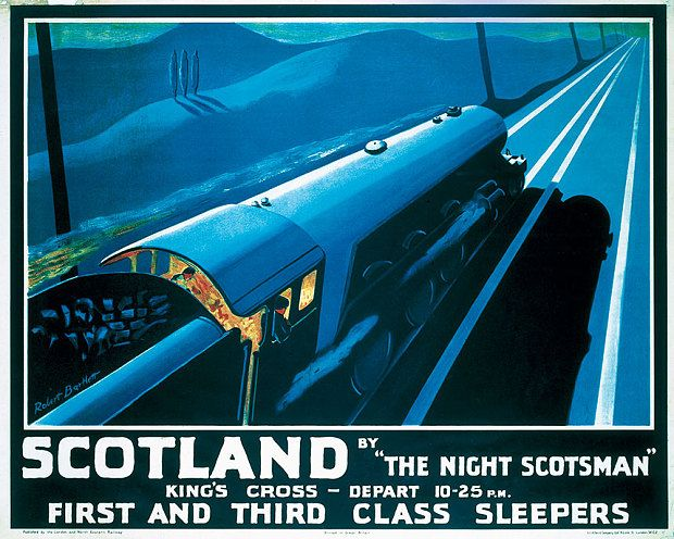 'Scotland by the Night Scotsman', London and North Eastern Railway poster from 1932