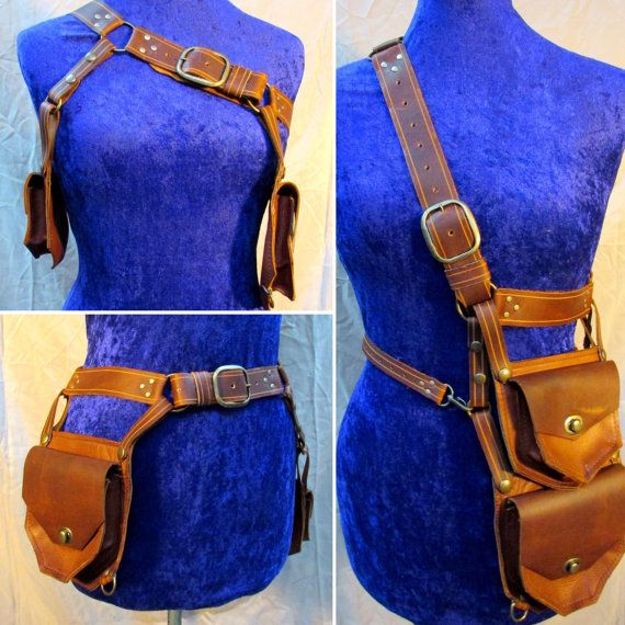Rust Steam Punk Leather Double Holster Belt Pouch Bag - METAMORPH