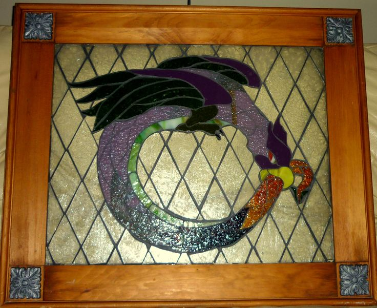 Glass on glass mosaic by CraftMonster Carrie.    Pattern from Stained Glass News--Bird Dragon