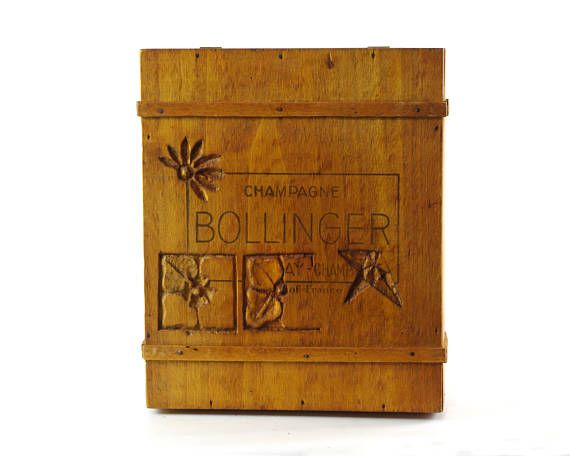 Wooden Box with Lid Vintage Bollinger Champagne Box