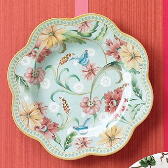 """Beautiful China Patterns""""Exotic Garden Daisy"""" dessert plate, $72 for four, from Spode, 800-257-7189, spode.co.uk."""