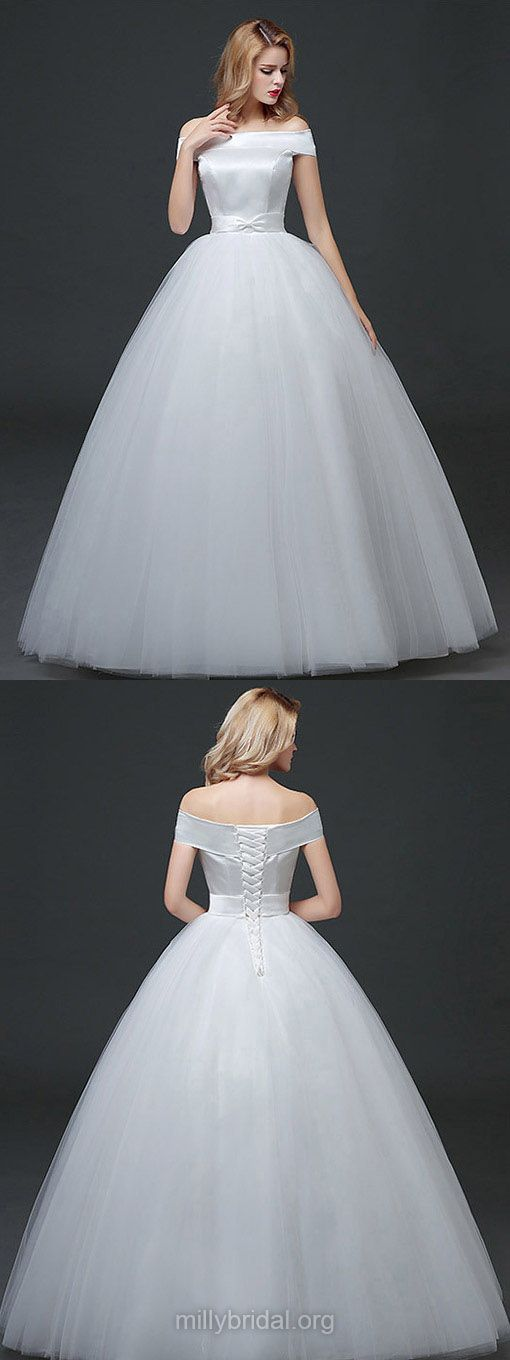 Ball Gown Wedding Dresses Off-the-shoulder, Cheap Wedding Dress 2018 Satin, Long Bridal Gowns Simple Tulle, Elegant Wedding Dresses Style Country