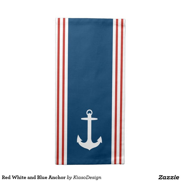 Red White and Blue Anchor Napkin