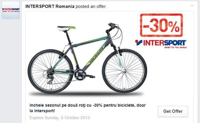 Ia-ti acum oferta de -30% pentru ORICE model de bicicleta de la #Intersport ! Oferta disponibila exclusiv pe Facebook :) https://www.facebook.com/IntersportRO