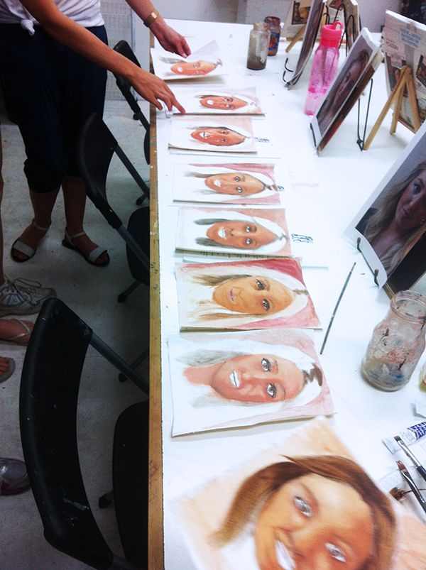 Students from our kids art classes working on their first portrait painted with oil paint. www.artandco.com.au