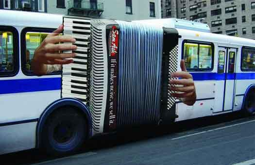 """If it makes music, we sell it"" ad: Buses,  Squeezed Boxes, Music, Street Art, Funny, Accordion Bus,  Piano Accordion, Design, Streetart"