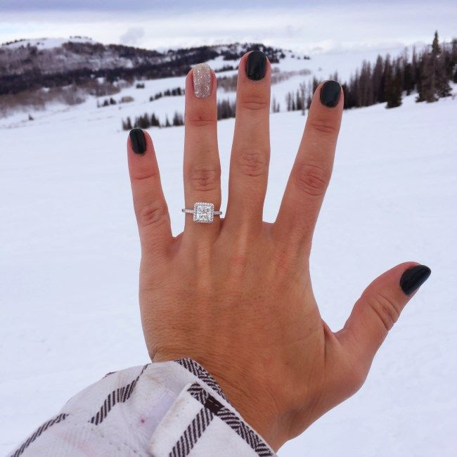 "Daynia and Colin's Proposal Story #jamesallenrings #proposal #engagement | ""Colin returned from a 6 month military deployment overseas in February...A week after he got home, we drove out to a cabin in Utah and met up with both of our families. We had a couple wonderful days of skiing, snowboarding, sledding, and playing in the snow..."" Read more details on their #JAmoment here and see her princess cut diamond halo engagement ring up-close."