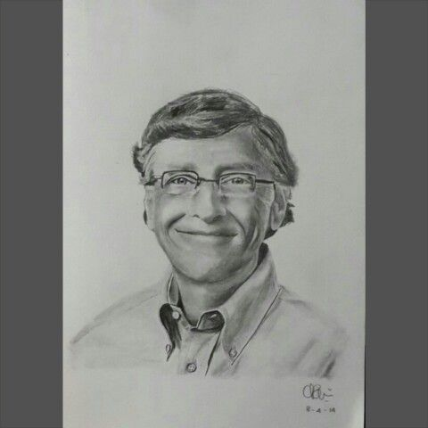 "Bill Gates  ""I failed in some subjects in exam, but my friend passed in all. Now he is an engineer in Microsoft and I am the owner of Microsoft."" A5 paper, 2B graphite pencil  tribute to his visit to our faculty last saturday, too bad I wasn't there :""("