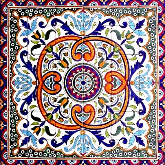 DECORATIVE CERAMIC TILES: mosaic panel hand painted wall mural kitchen bath pool patio flooring art tile  36in x 36in