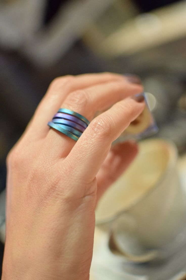 Anodized Titanium Band Ring, Multi Color, Band Ring, Round Ring, Rainbow Shades,  Endless Ring, Minimal Ring, Infinite Ring - pinned by pin4etsy.com