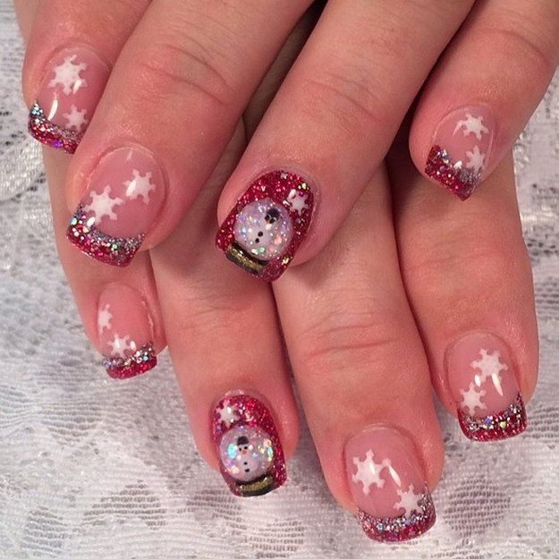 Snowflakes And Red Glitter | Amazingly Cool Snow Globe Nails Perfect For The Holidays