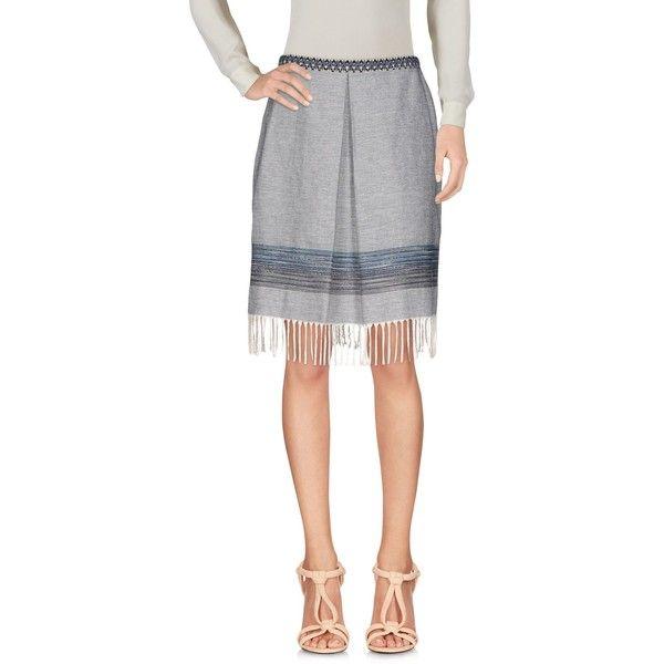 Pf Paola Frani Knee Length Skirt ($120) ❤ liked on Polyvore featuring skirts, grey, knee length skirts, gray skirt, grey knee length skirt, grey fringe skirt and knee high skirts