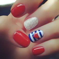 Disney cruise nail art designs - Maybe add some blue mickey heads on the red nails!