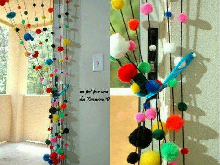 Cortinas De Baño Easy:Beaded Pom Pom Curtain