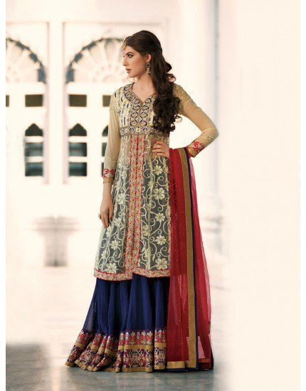 Navy Blue Georgette Lehenga Choli with Resham Embroidery Work