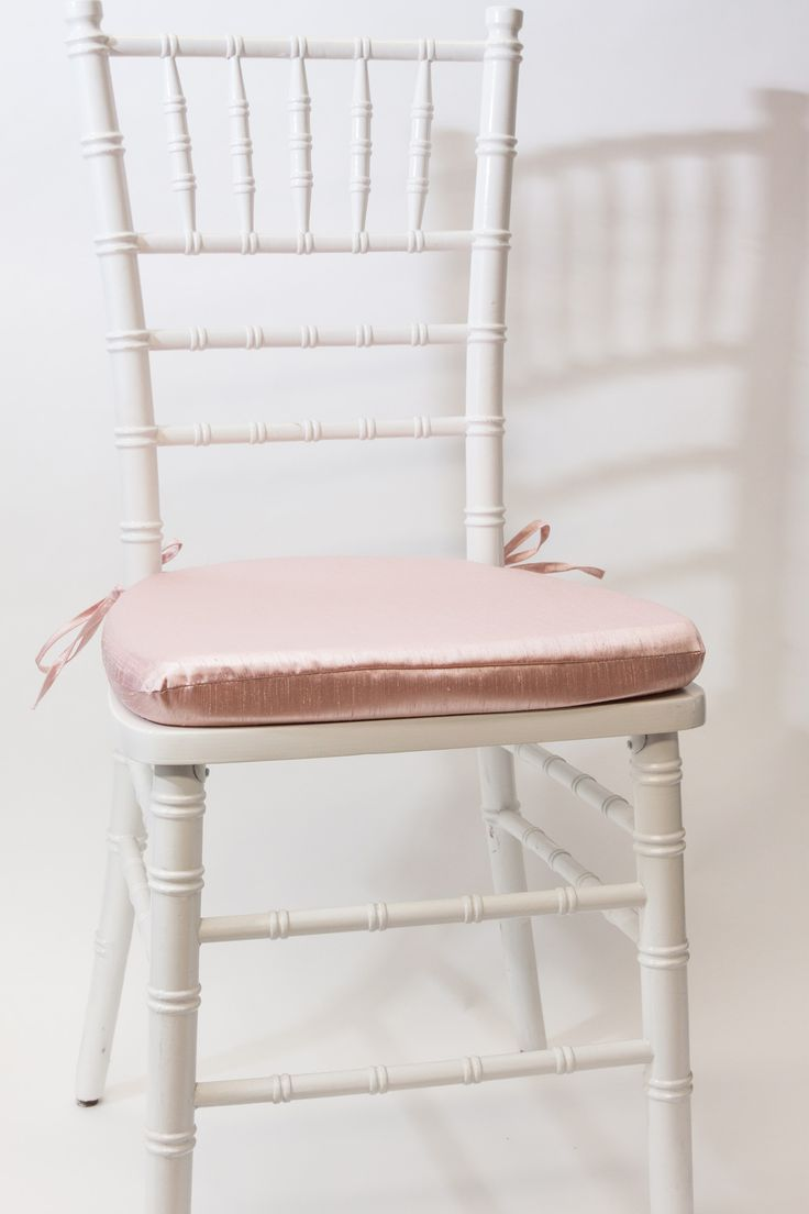 White Vision Furniture Brand Chiavari Chair Frame Featuring A Blush Dupioni  Cushion.