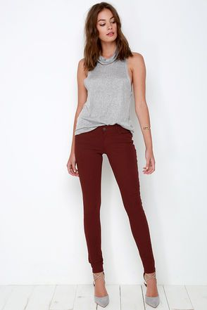 Take a Walk Burgundy Skinny Jeans