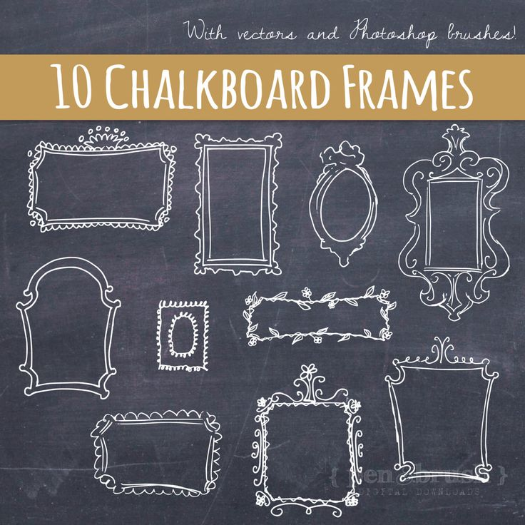 Vector Doodle Frames // Hand Drawn Frames // DIY Wedding Photos // Photo Overlay // Chalkboard // Photoshop Brush Stamp // Commercial Use by thePENandBRUSH on Etsy https://www.etsy.com/listing/161765748/vector-doodle-frames-hand-drawn-frames