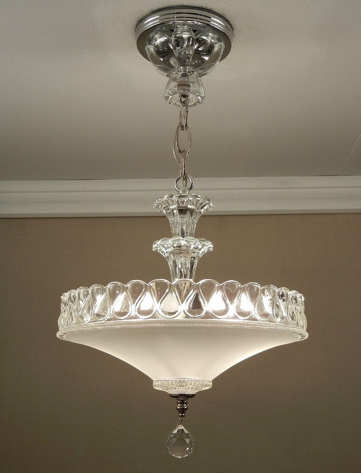 Antique 1940s Vintage American Art Deco White Pressed Glass & Chrome Ceiling Light Fixture Chandelier Rewired