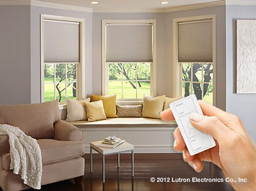 motorized shades from Lutron = heaven.     http://www.serenashades.com/