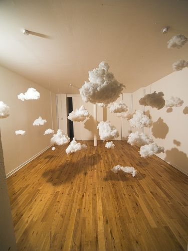 White clouds -  This reminds me of the Peter Pan Ride at Disneyland :) Imagine having these hanging in your home high enough that people can walk beneath them, or maybe a few small ones just above a crib in place of a mobile. Not sure how one would make these though.