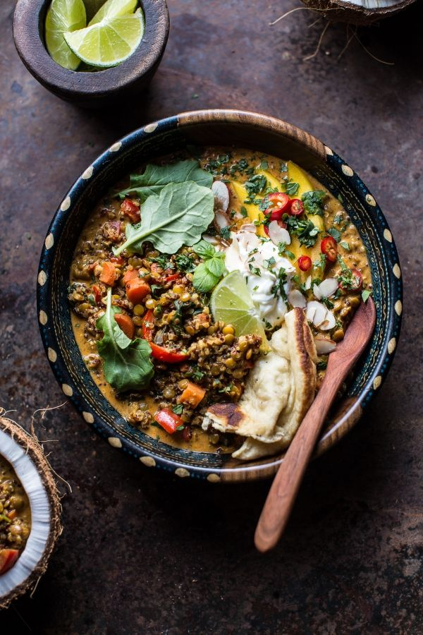 Simple Coconut Quinoa and Lentil Curry with Lime Mango - an easy, super healthy, delicious meal to start your week off right! From halfbakedharvest.com