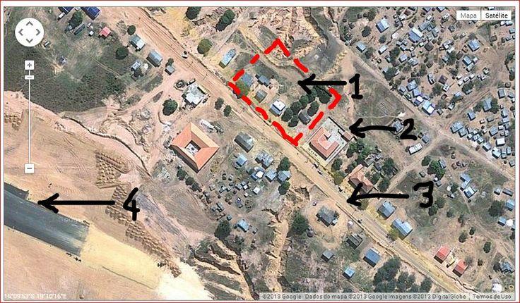 Cuíto Cuanavale  As zonas demarcadas configuram os locais  de atuação militar no ano de 1967/69 durante a guerra colonial.  1) Local de estacionamento da Comp. de Eng. Militar. 2) Ediício Administrativo. 3) Estrada (picada) principal. 4) Pista de aviação.
