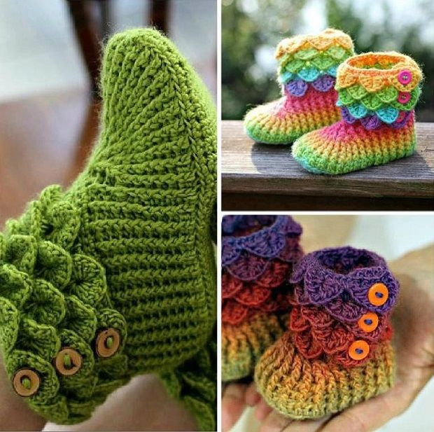 Crocheted and Knitted Slippers and Booties Crocodile Booties
