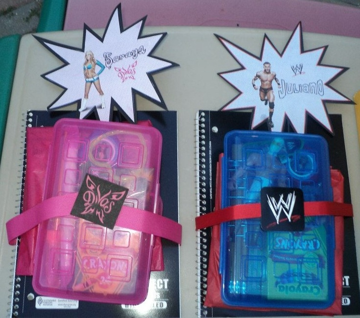 WWE Wrestling birthday party favors.  My son's birthday is right before the beginning of the school year so I handed out school supplies at his 6th bday party.  I also included some candy, a wrestler, and some WWE favors.
