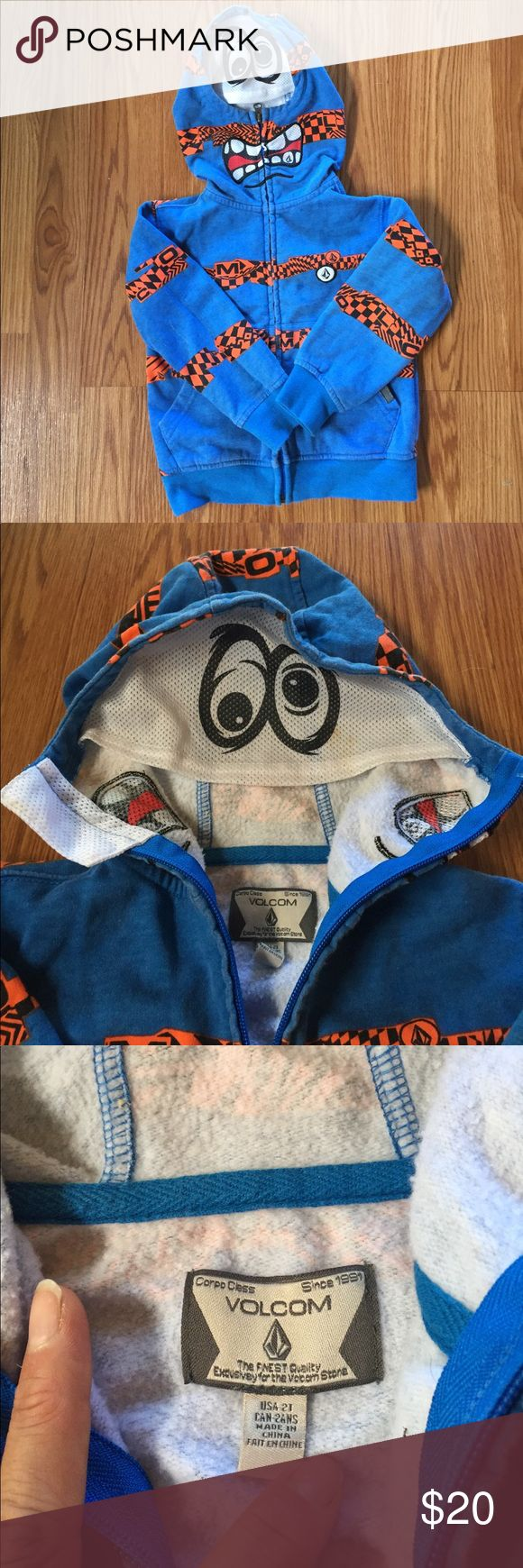 """Little boys Volcom hoodie Super fun mesh """"crazy eyes"""" and mouth when u zip it up and pull out the mesh part. Excellent condition, worn maybe 3 times max. Only a small stain on the mesh by the eyes 👀 Volcom Jackets & Coats"""