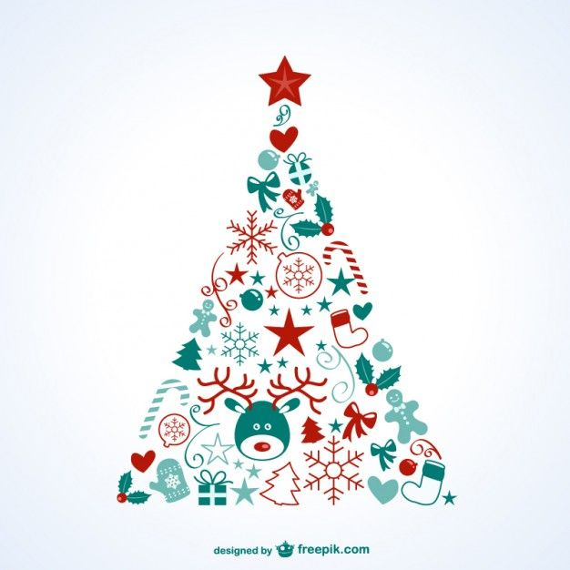 Christmas tree with icons Free Vector. More Free Vector Graphics, www.123freevectors.com