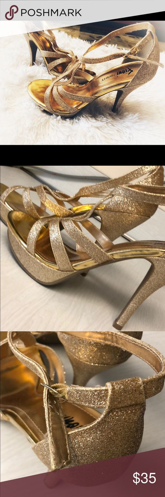 "Gold sparkly/glitter shoes Gently Used- Heel Height 5"" Shoes Heels"