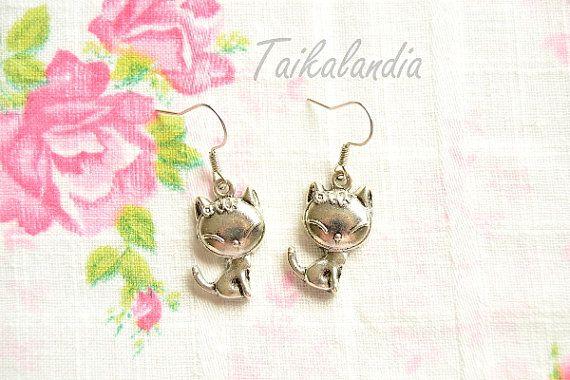 Cat Earrings, Antique Silver Cat Charm Earrings, Cat Necklace, Miniature Cat Pendant Necklace, Metal Cat Pendant Earrings - Nickel Free