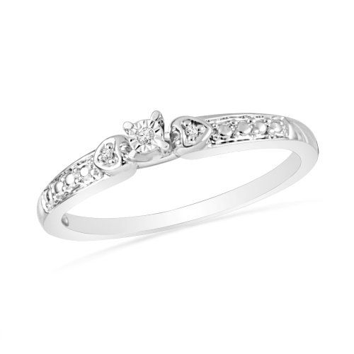 Platinum Plated Sterling Silver Round Diamond Three Stone Promise Ring (0.01 Cttw)