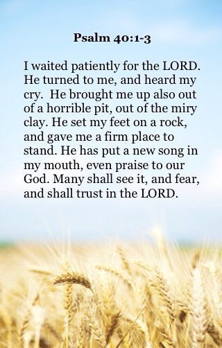 """""""I waited patiently for the LORD; And He inclined to me, And heard my cry. He also brought me up out of a horrible pit, Out of the miry clay, And set my feet upon a rock, And established my steps. He has put a new song in my mouth— Praise to our God; Many will see it and fear, And will trust in the LORD."""" Psalms 40:1-3 NKJV"""