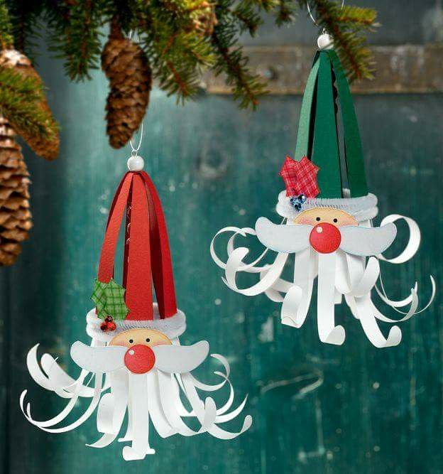 Paper Craft Santa Ornaments