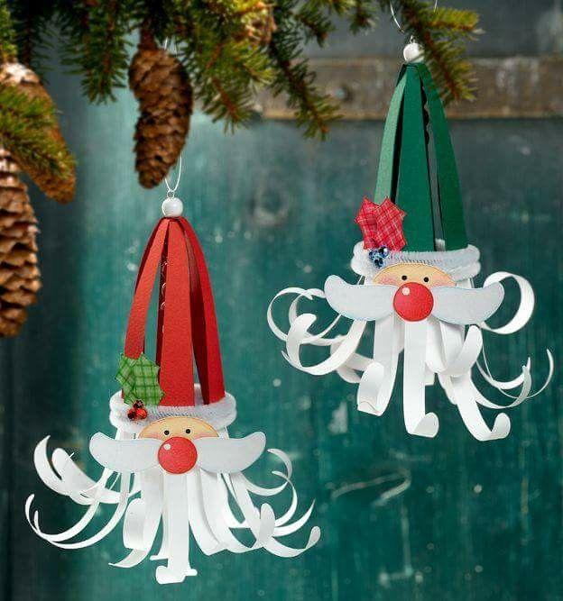 Paper Craft Santa Ornaments