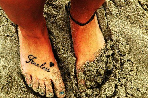 fearless, feet, tattoo