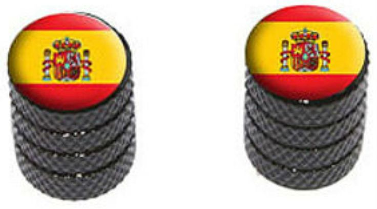 """Amazon.com : (2 Count) Cool and Custom """"Diamond Etching Spanish Flag Top with Easy Grip Texture"""" Tire Wheel Rim Air Valve Stem Dust Cap Seal Made of Genuine Anodized Aluminum Metal {Black, Yellow, and Red Color} : Sports & Outdoors"""