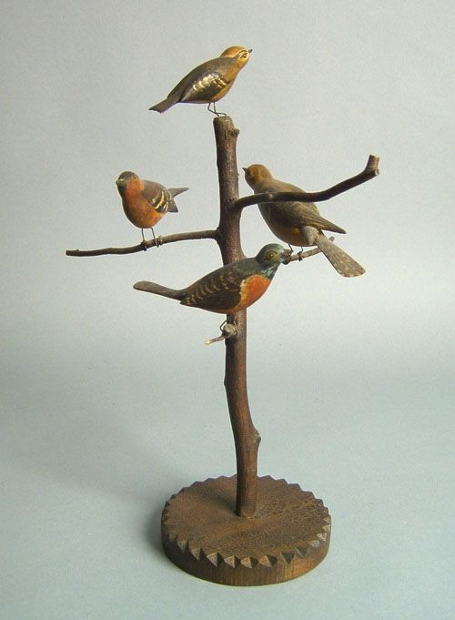 """Realized Price: $ 1404   Carved and polychrome bird tree, early 20th c., 14 1/4"""" h."""