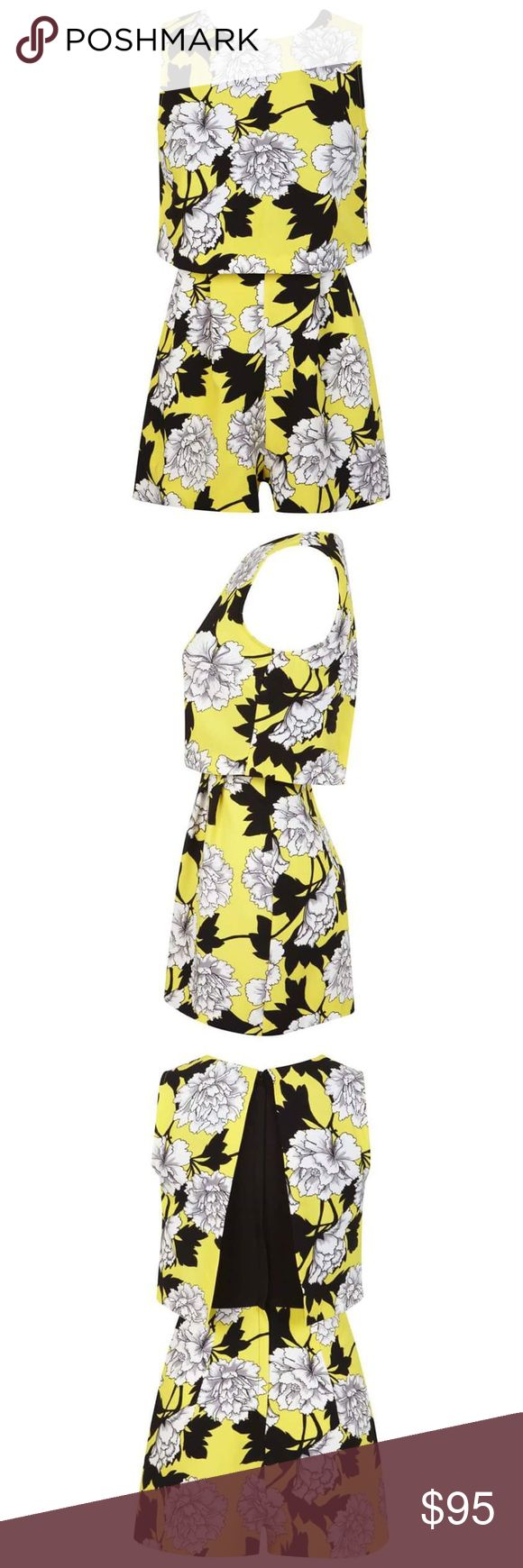 Miss Selfridge Petite Floral Romper *NEVER used, without tags. Petites yellow floral print overlay playsuit. By Miss Selfridge.  •Wearing length: 76cm  •88% Polyester, 12% Elastane  •Machine washable Topshop Dresses