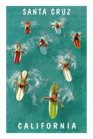 Surfers from Above, Santa Cruz, California Premium Poster