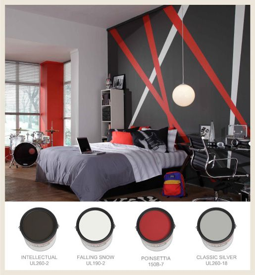 Wall in Grey and Red color combination of Bedroom Theme | For a Teenagers Boys.We can see the room with wall fashion design which attracting the room ......