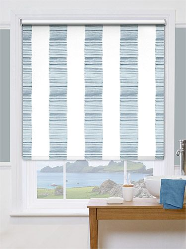 Splash Ceramic Stripe Med Blue Roller Blind Shutters And