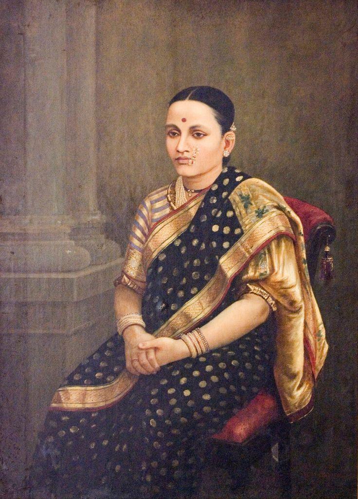 Portrait of a lady, raja ravi varma. around 1900 De kleding van de vrouw ziet er erg mooi uit, ze lijkt wel een heel machrige invloedrijke vrouw. De gouden kleur in dit schilderij vind ik het allermooist om te zien.