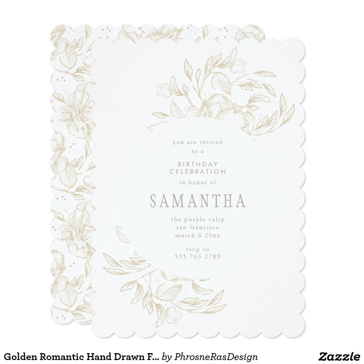 Golden Romantic Hand Drawn Floral Frame Invitation #zazzle #invitation #stationery #tabletop #flowers #floral #organic #original #illustration #designer #suite #elegant #stylish #phrosneras #phrosnerasdesign #calligraphy
