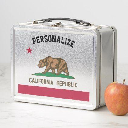 California Republic flag custom metal lunchbox - home gifts ideas decor special unique custom individual customized individualized
