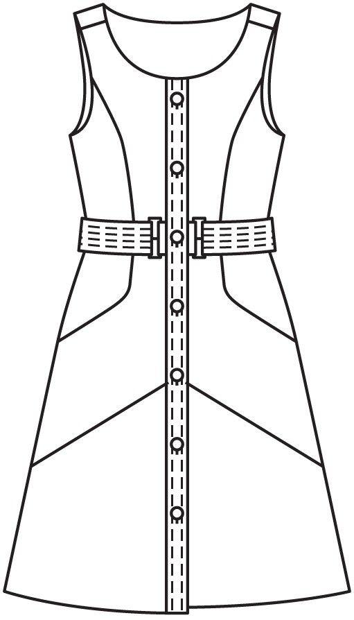 http://burdastyle.ru/vikroyki/platya/plate-s-relefnymi-shvami-burda-2016-6-105-v/# Модель 105 из 6/2016. Платье с рельефными швами