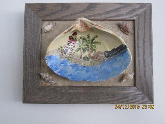 Framed Seashell island hand painted by ingeborgsorgent on Etsy